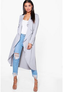 Womens Grey Waterfall Duster