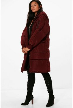 Womens Berry Zoe Boutique Longline Padded Quilted Coat