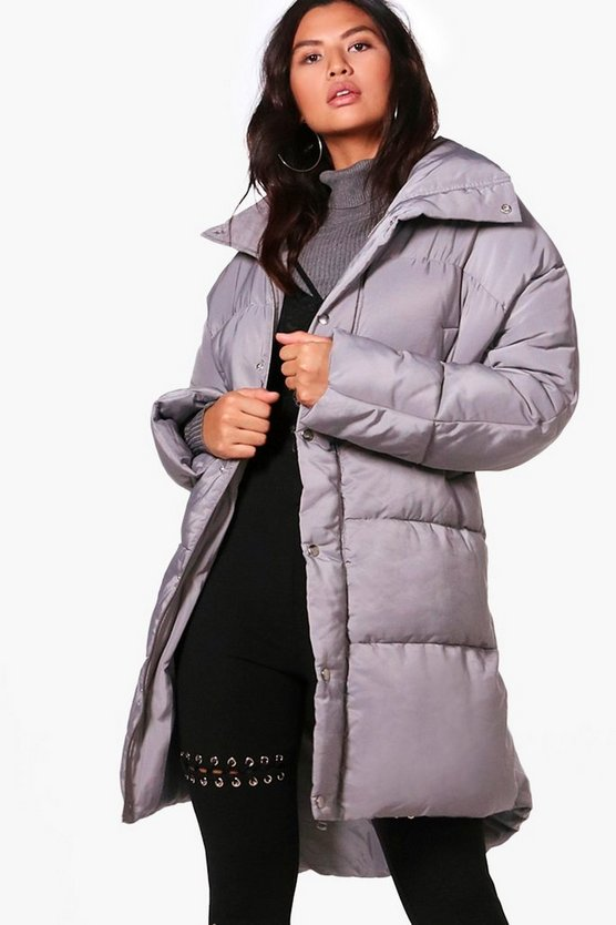 Womens Grey Boutique Funnel Neck Padded Jacket