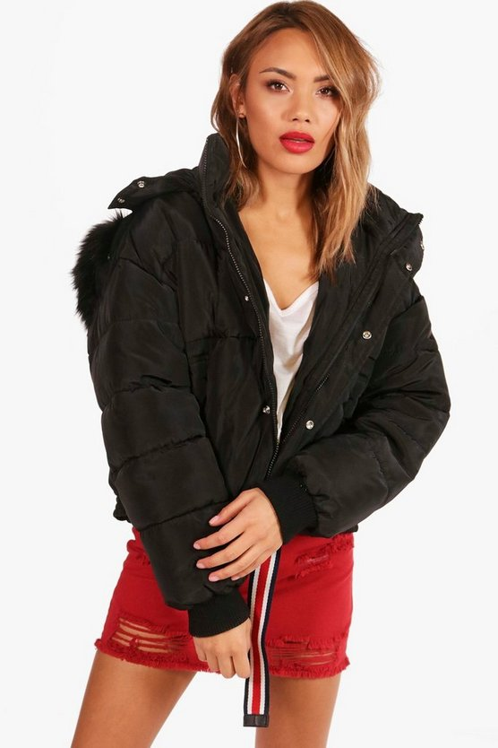 Boutique Ruched Back Padded Coat