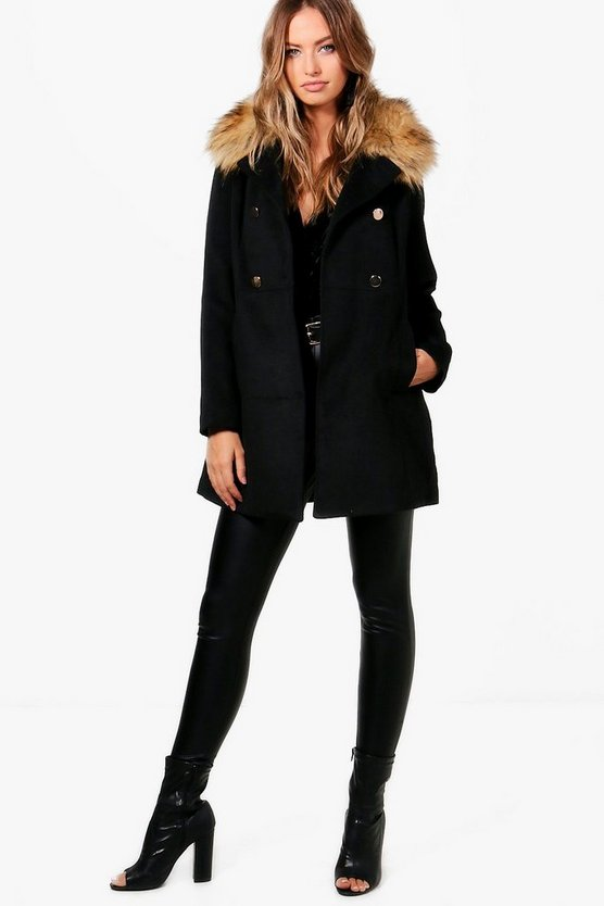 Hollie Faux Fur Collar Wool Look Coat
