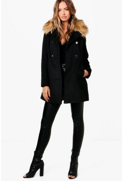 Womens Black Hollie Faux Fur Collar Wool Look Coat