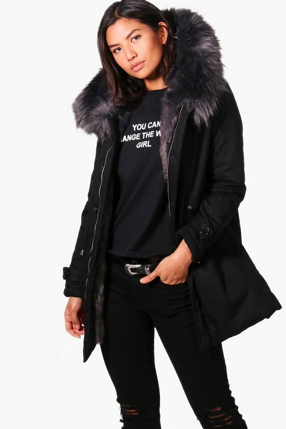 Lucia Boutique Faux Fur Trim Parka