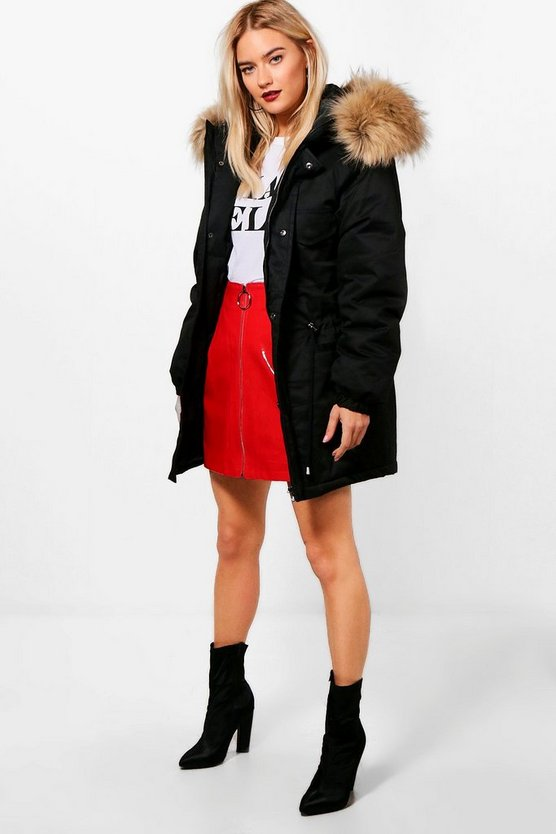 Boutique Faux Fur Trim Parka