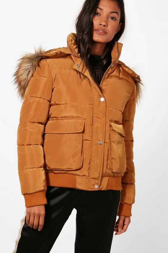 Womens Rust Boutique Faux Fur Trim Padded Jacket