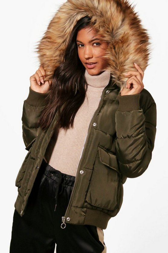Khaki Emma Boutique Faux Fur Trim Padded Jacket