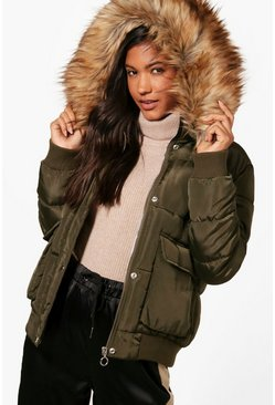 Womens Khaki Emma Boutique Faux Fur Trim Padded Jacket