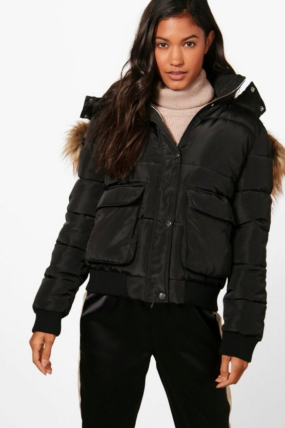 Boutique Faux Fur Trim Padded Jacket