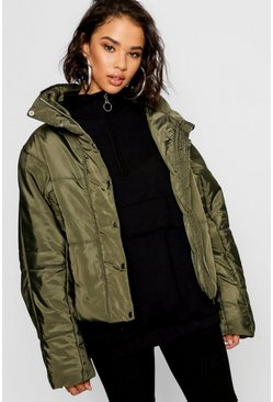 Womens Khaki Boutique Oversized Padded Jacket