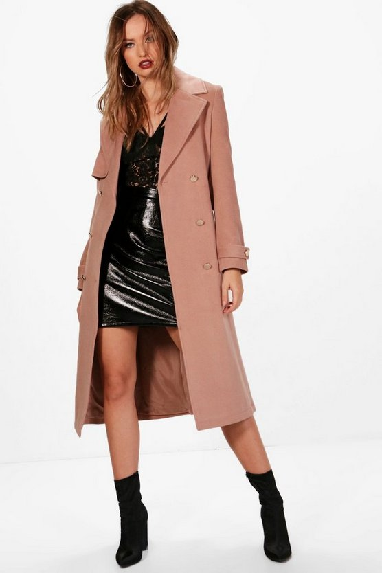 Womens Nude Double Breasted Wool Look Coat
