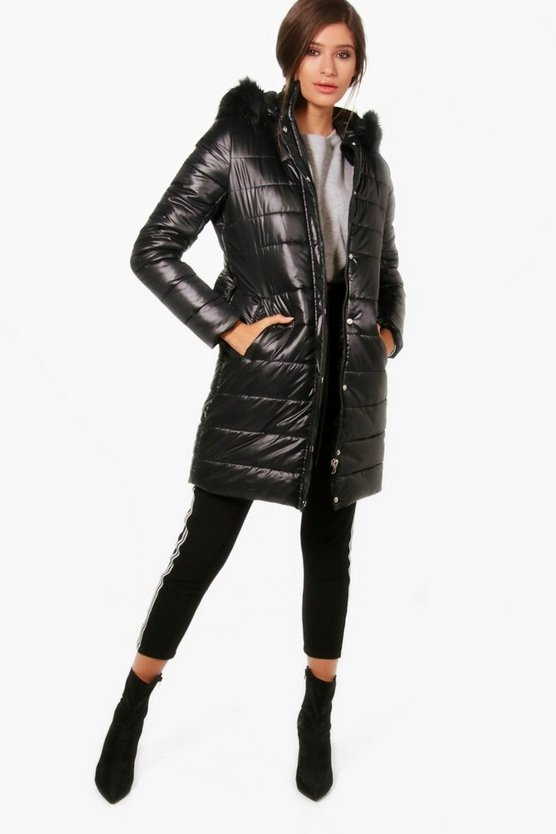 Harriet High Shine Padded Belted Coat
