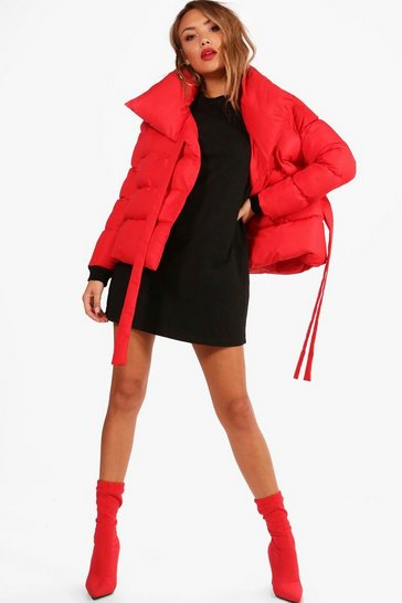 Womens Red Hanna Oversized Collar Padded Tie Front Coat