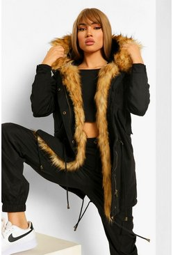 Dam Black Boutique Faux Fur Trim Parka