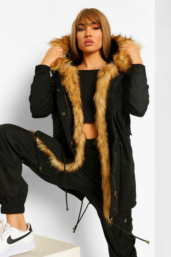 Womens Black Boutique Faux Fur Trim Parka