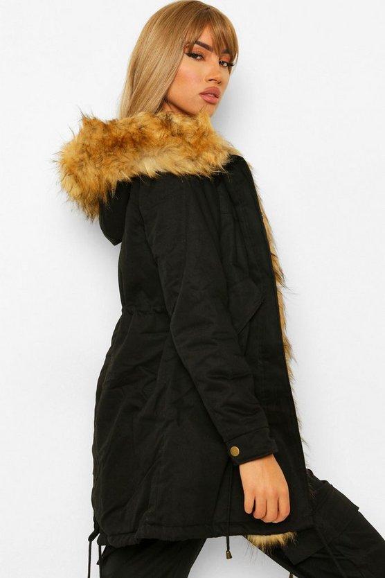 Boutique Faux Fur Trim Parka