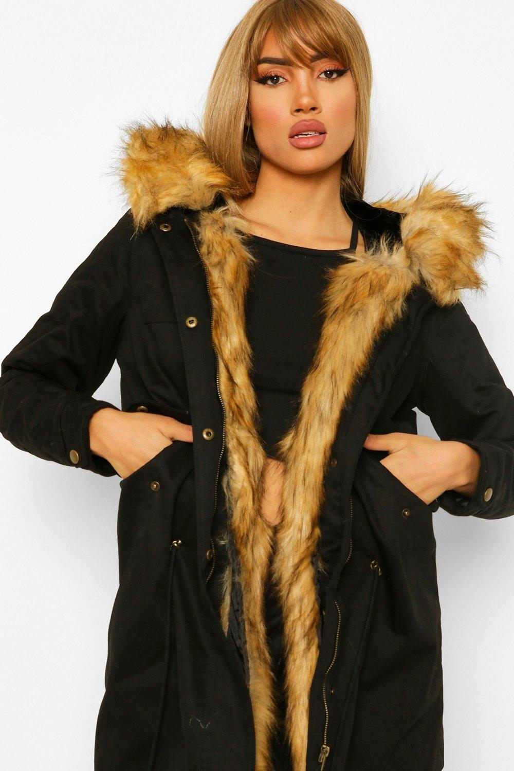 black Fur Boutique Trim Freya Parka Faux 0qXXRO