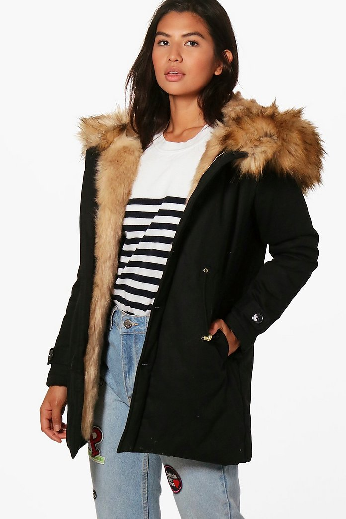 special for shoe amazing selection cheap for discount Boutique Faux Fur Trim Hood Parka | boohoo