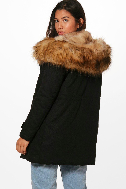 Boutique Hood Faux Trim Fur black Parka UwnUqrt1W