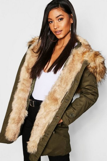 Womens Khaki Boutique Faux Fur Trim Hood Parka