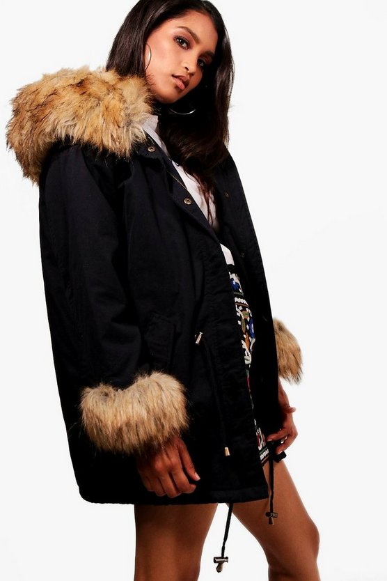 Faux Fur Cuff And Collar Parka