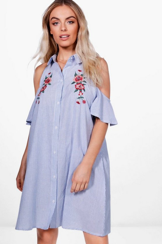 Talia Cold Shoulder Embroidered Shirt Dress