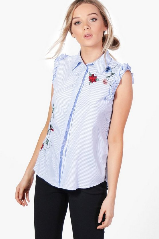 Womens Blue Hannah Embroidered Stripe Ruffle Shirt