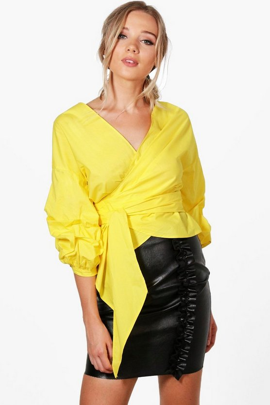 Womens Yellow Olivia Ruched Sleeve Wrap Shirt