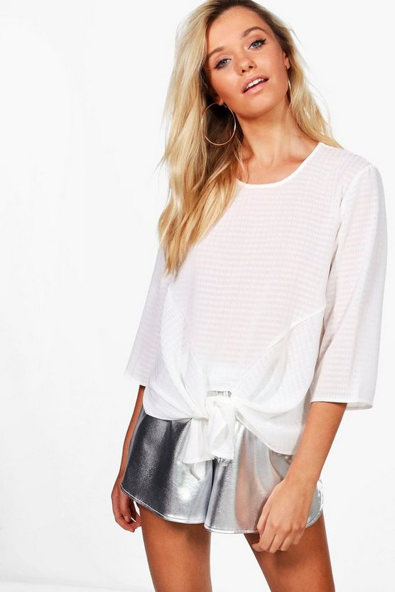 Hannah Knot Front Woven Top