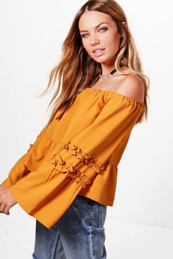 Jessie Woven Ruffle Off The Shoulder Top