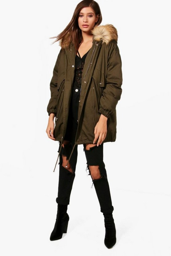 Short Parka With Detachable Lining