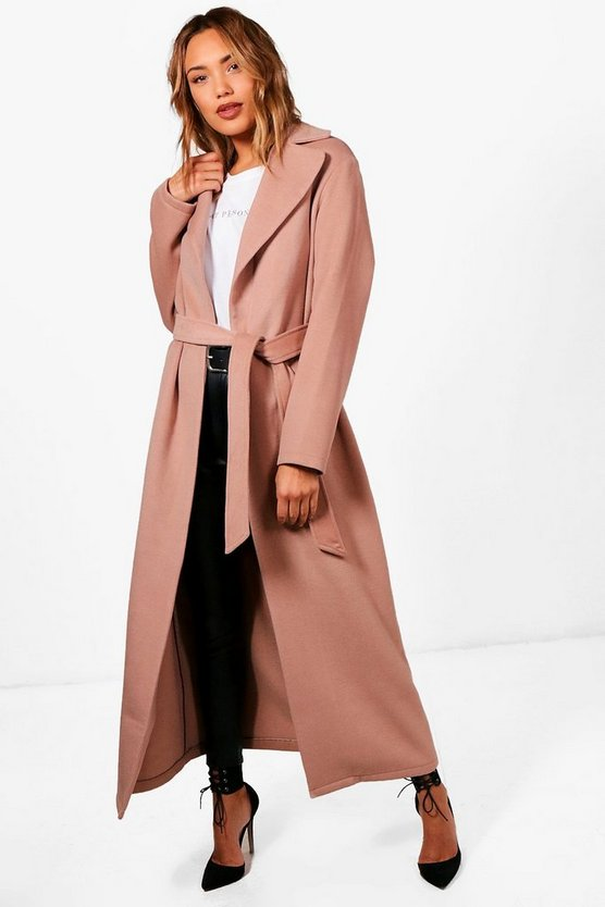 Belted Maxi Wool Look Coat