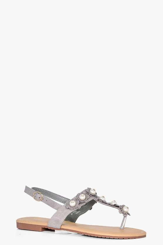 Brooke Pearl & Flower Trim Sandal