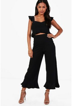 Frill Bralet & Hem Trouser Co-ord, Black, Donna