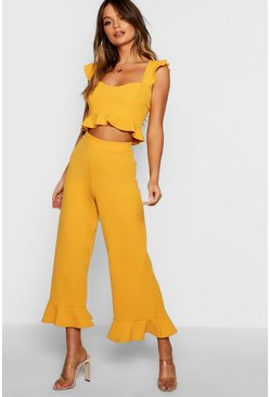 Womens Mustard Frill Bralet & Hem Pants Co-Ord