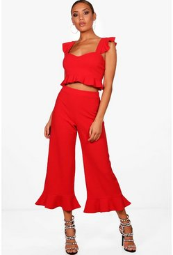 Womens Red Frill Bralet & Hem Trouser Co-ord