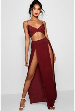 Berry Slinky Bralet & Split Maxi Skirt Co-ord Set