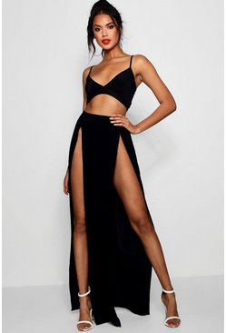 Slinky Bralet & Split Maxi Skirt Co-ord, Black, Donna