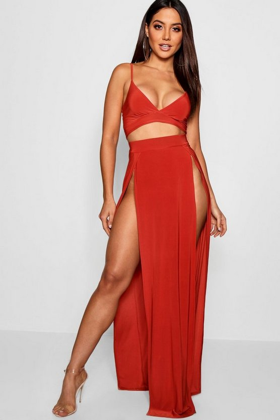 Womens Brick Slinky Bralet & Split Maxi Skirt Co-ord