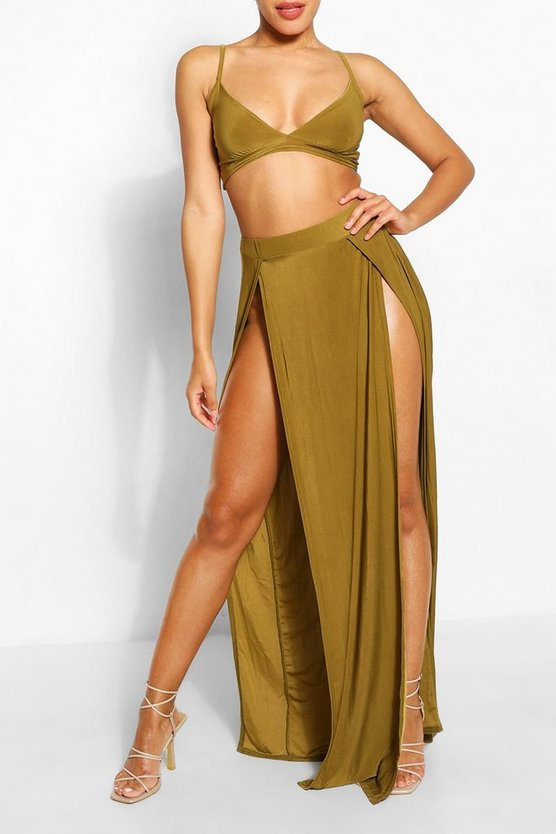 Womens Chartreuse Slinky Bralet & Split Maxi Skirt Co-ord