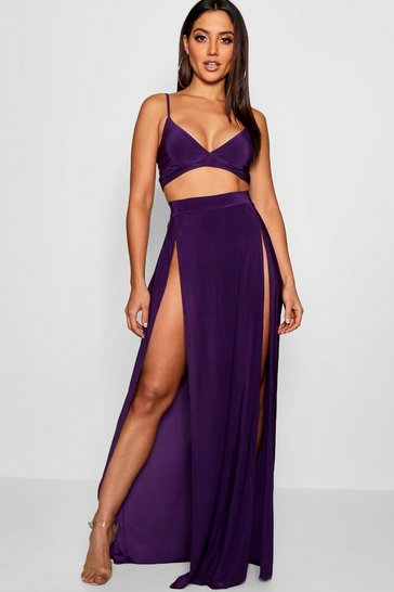 Womens Jewel purple Slinky Bralet & Split Maxi Skirt Co-ord