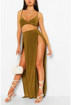 Khaki Slinky Bralet & Split Maxi Skirt Co-Ord Set