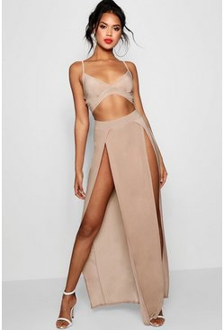 Womens Stone Slinky Bralet & Split Maxi Skirt Co-ord