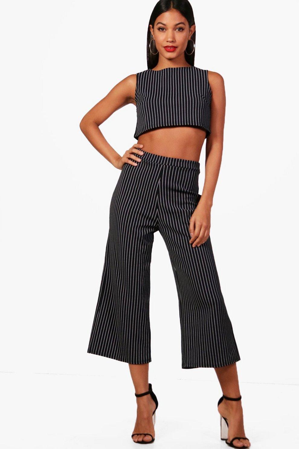 989df79e0f3 Frances Stripe Boxy Crop & Culotte Co-ord | Boohoo