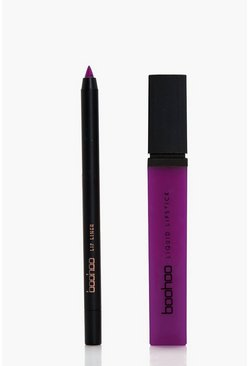 Womens Purple Boohoo Matte Lip & Liner Kit
