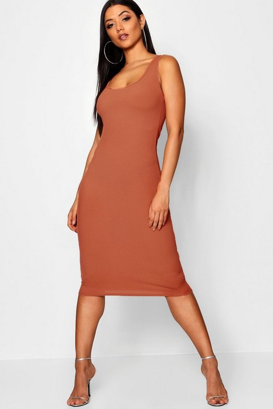 Womens Brick Rib Sleeveless Midi Dress