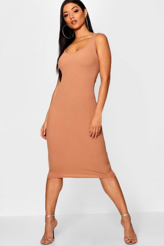 Womens Camel Rib Sleeveless Midi Dress