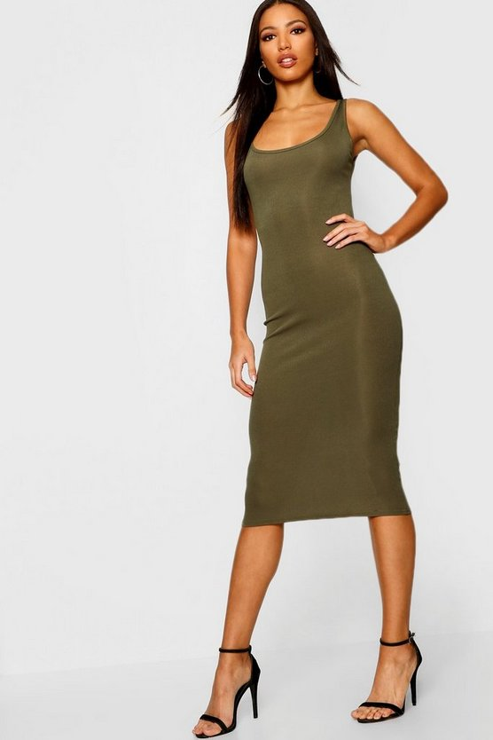 Rib Sleeveless Midi Dress