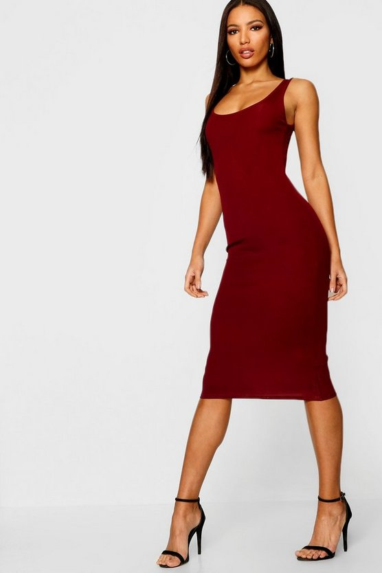 Womens Wine Rib Sleeveless Midi Dress