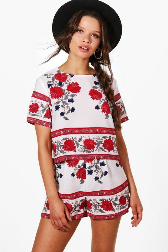 Nina Boarder Print Crop & Short Co-ord Set