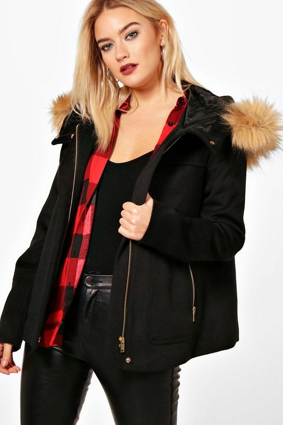Faux Fur Trim Hood Crop Parka